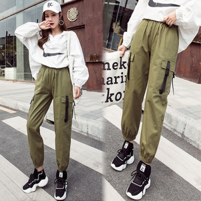 【韓國K.W.】氣質甜心特色修身工裝褲-2色