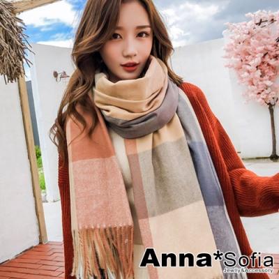 AnnaSofia 暖彩方格流蘇 仿羊絨大披肩圍巾(灰米駝系)