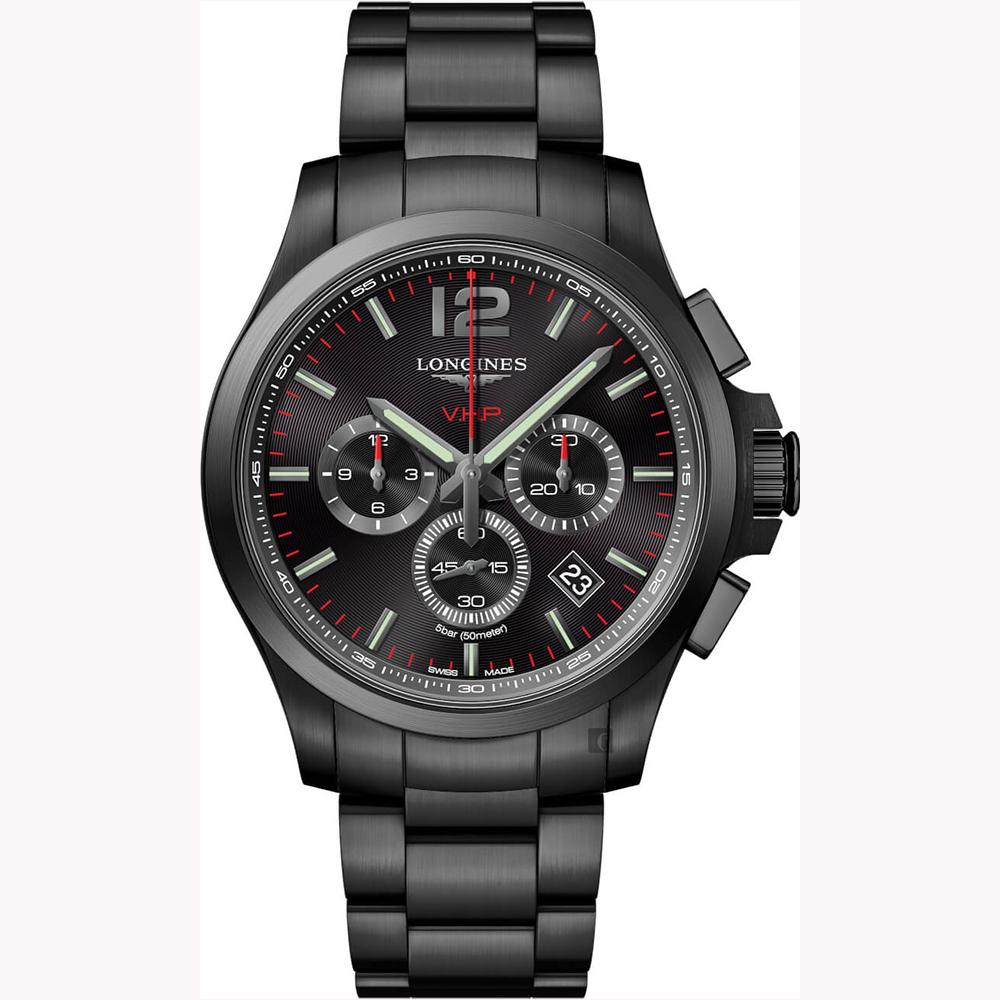 LONGINES 浪琴 征服者系列V.H.P.萬年曆計時手錶-鍍黑/43mm