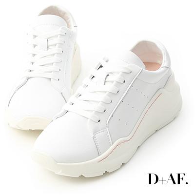 D+AF 經典樣式.真皮厚底休閒運動鞋*白
