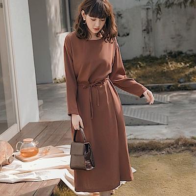 純色不易皺高雅質感收腰綁帶傘襬長袖洋裝-OB嚴選