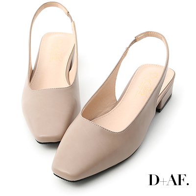 D+AF 粉彩春氛.素面方頭後空低跟鞋*灰