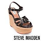 STEVE MADDEN-KNIGHT波西米亞草編楔型涼鞋-黑色