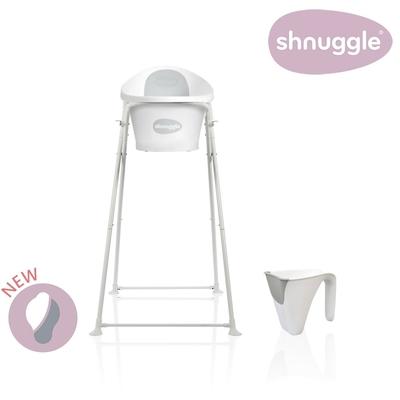 【英國Shnuggle】月亮澡盆三件組-月亮澡盆(時尚灰)+專用架U2+小小水瓢