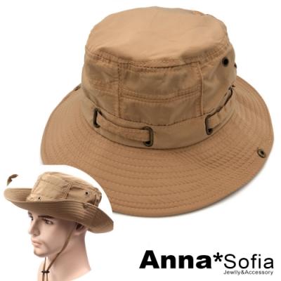 【出清3件5折】AnnaSofia 穿繞飾帶 防曬寬簷漁夫帽牛仔遮陽帽(暖駝系)
