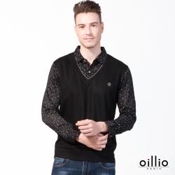 oillio歐洲貴族 長袖POLO衫 絲綢般天絲棉 防皺舒適 紳士休閒 黑色