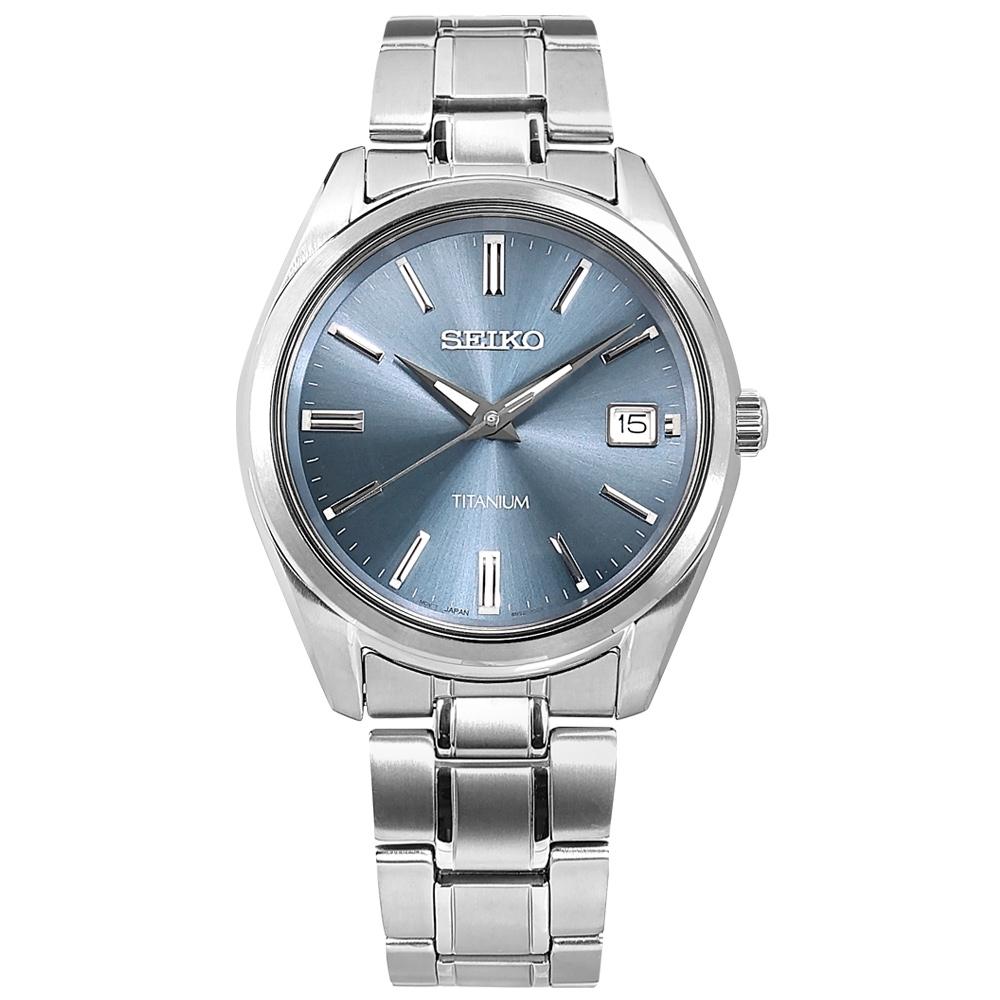 SEIKO 精工 超輕量 簡約時尚 日期 鈦金屬手錶-藍色/40mm
