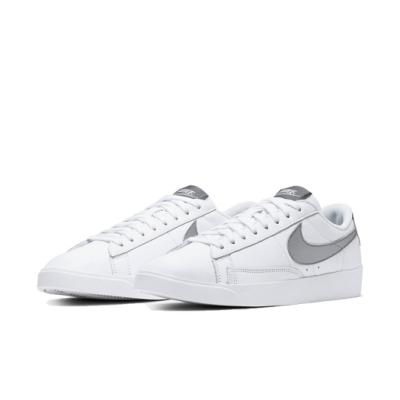 Nike 休閒鞋 W Blazer Low LE 女鞋 皮革 低筒 復古 球鞋 白 銀 AV9370106