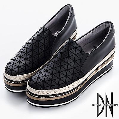 DN 搖滾元素 幾何金屬拼接草編厚底鞋-黑