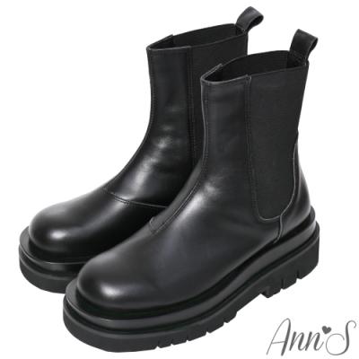 Ann'S就是比較瘦-頂級牛皮彈力鬆緊切爾西輕量厚底短靴