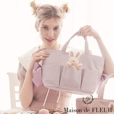 Maison de FLEUR  【SET ITEM】復活節兔子娃娃+格紋船型托特包