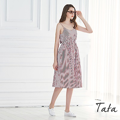 細肩條紋綁帶洋裝 共二色 TATA