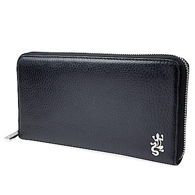 agnes b. VOYAGE 浮雕蜥蜴Logo 荔枝紋皮革拉鍊長夾(黑色)