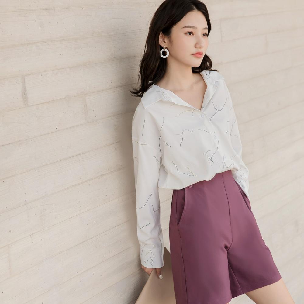 滑順排釦簡約線條長袖襯衫-OB大尺碼