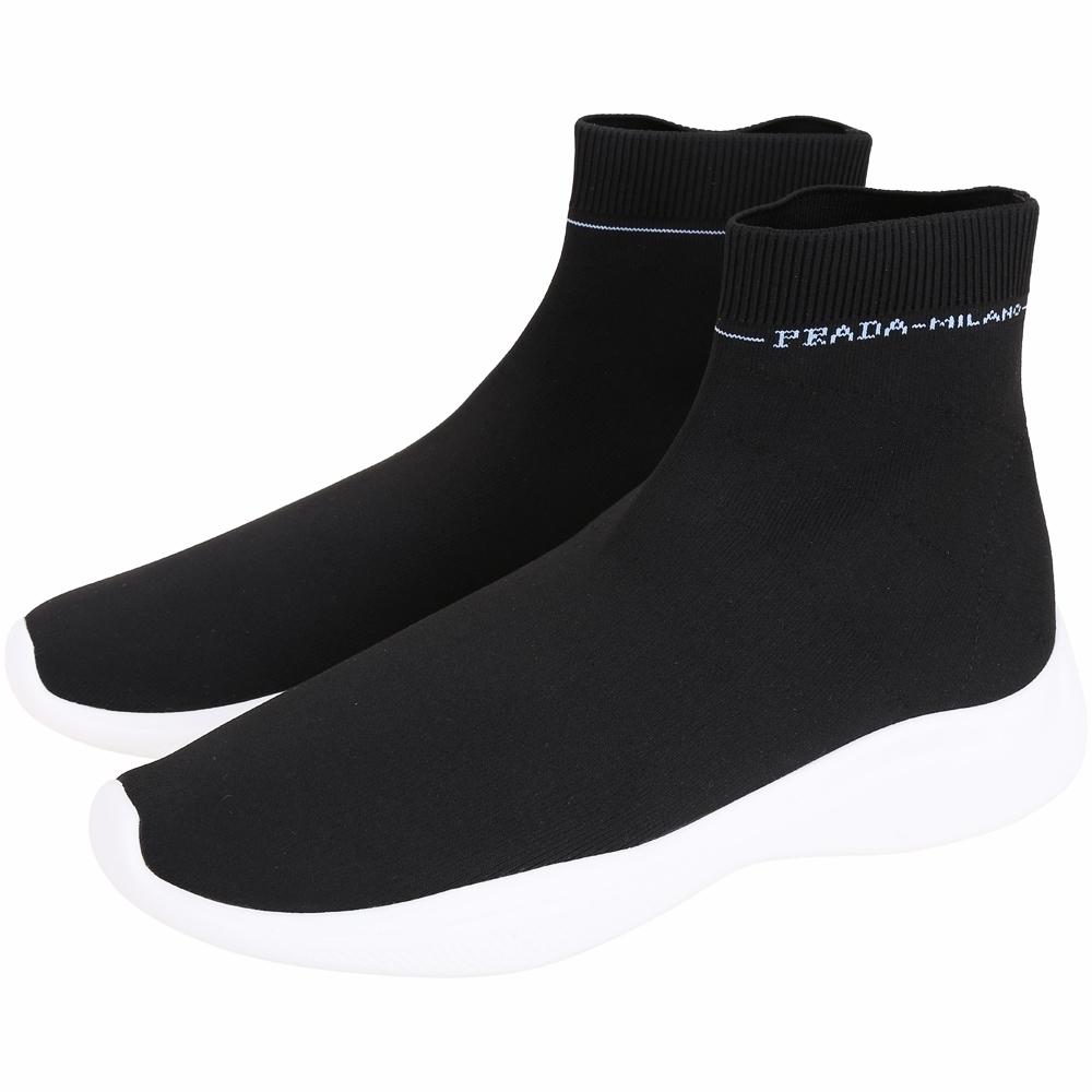 PRADA Etiquette 標籤彈性面料襪套運動鞋(男款/黑色)
