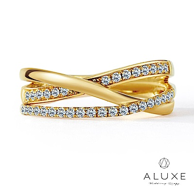 A-LUXE 亞立詩 18K黃金奢華鑽石線戒