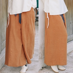 休閒褲-亞麻寬管高腰垂感棉麻寬鬆褲裙-設計所在