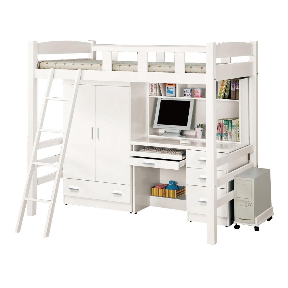 文創集 漢斯森3.5尺單人雙層床台(二色+雙層床+衣櫃+書桌)-111.5x198x179免組