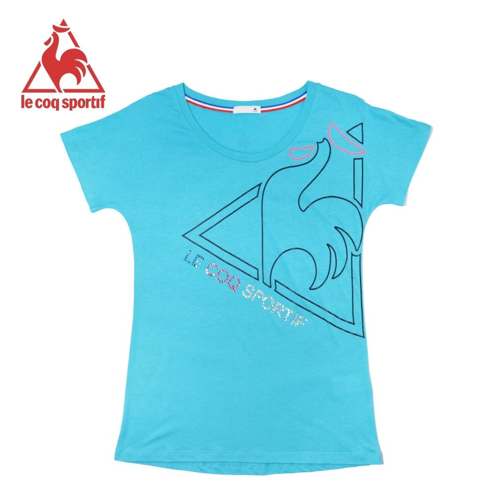 le coq sportif法國公雞牌燙鑽LOGO印花寬鬆版飛飛袖短袖T恤 女-寶藍