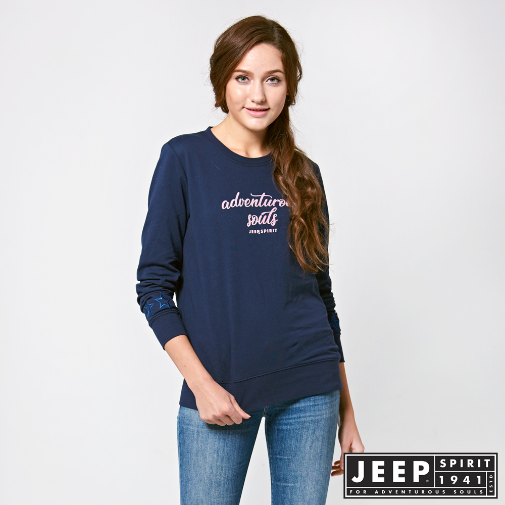 JEEP 女裝 冒險精神刺繡長袖TEE -藍色