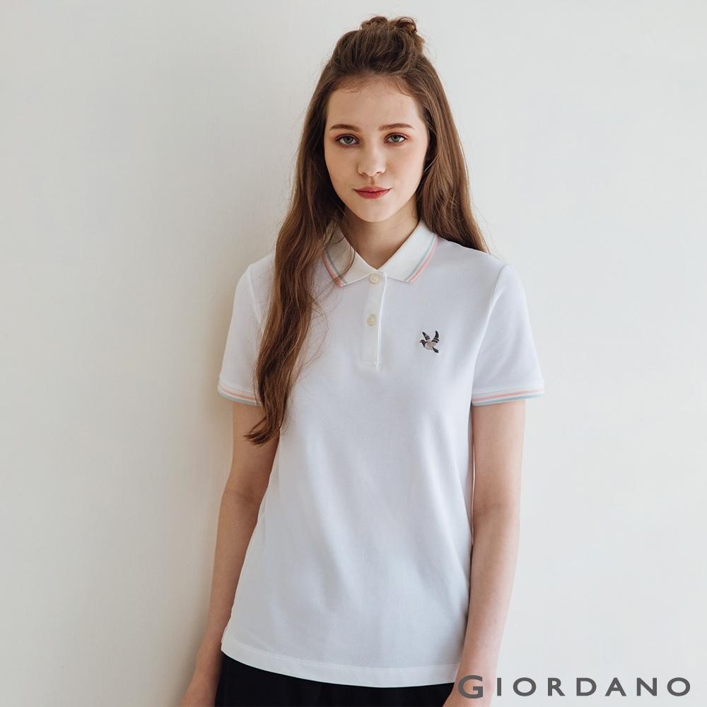 GIORDANO  女裝和平鴿小刺繡POLO衫 - 16 皎雪