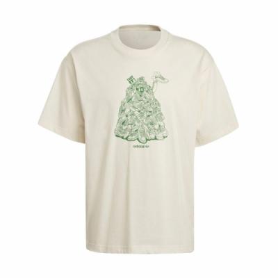 adidas T恤 Original T Stan Unite 男 愛迪達 三葉草 塗鴉 環保 純棉 穿搭 淺褐 綠 GQ8872