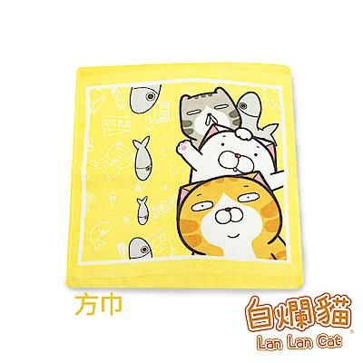 白爛貓Lan Lan Cat 臭跩貓滿版印花方巾(疊羅漢-好友疊羅漢)