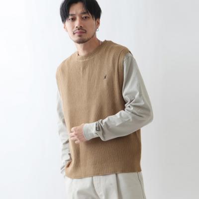 素色純棉針織背心KANGOL(5色) -ZIP日本男裝