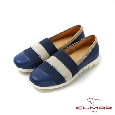 【CUMAR】悠遊輕井澤 - 彈性織帶拼色休閒鞋-藍