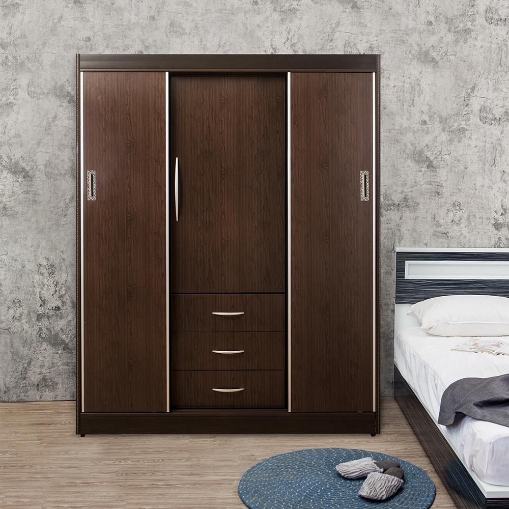 Birdie南亞塑鋼-5.3尺三抽一開門二推/拉門塑鋼衣櫃(胡桃色)-158x61x200cm