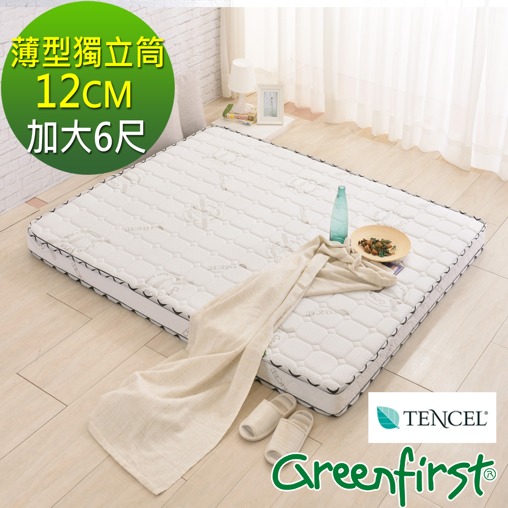 (特約活動)加大6尺-LooCa天絲+防蹣+防蚊12cm獨立筒床墊-輕量型