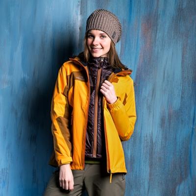 法國【EiDER】女超輕兩件式防水保暖透氣連帽外套 /EIT2405-金黃/咖啡