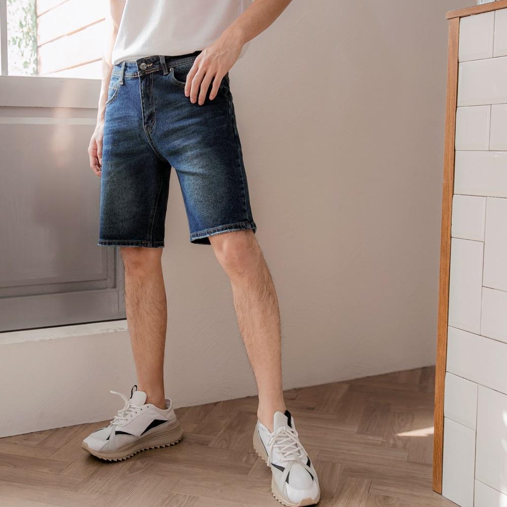 率性水洗彈力牛仔短褲-OB大尺碼