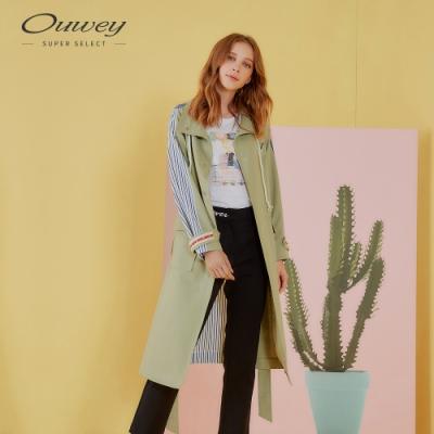 OUWEY歐薇 率性斜紋拼接條紋長版風衣外套(綠)