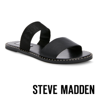 STEVE MADDEN-AUDRIE 質感涼爽織帶平底拖鞋-黑色