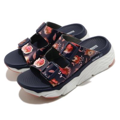 Skechers 拖鞋 Max Cushioning 女鞋 輕量 厚底 夏日配色 花朵 耐磨 藍 粉 140119NVMT