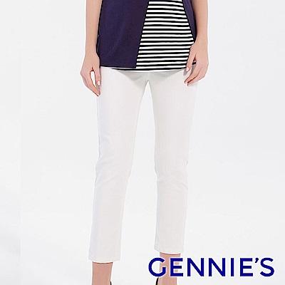 Gennies專櫃-涼感挺版精緻顯瘦長褲-白(T4F05)