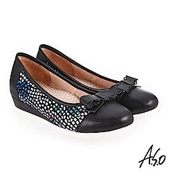 A.S.O 新式復古 異材質拼接真皮低跟鞋 黑