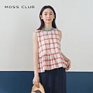【MOSS CLUB】甜美格紋荷葉邊-襯衫(紅色)