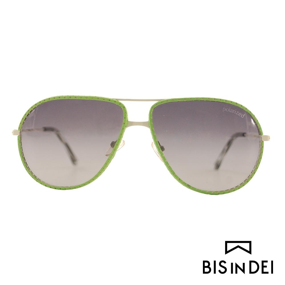 BIS IN DEI 皮革雷朋框太陽眼鏡-綠