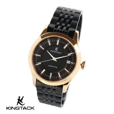 KINGTAGK 典雅品味時尚簡約機械腕錶-金黑