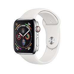 Apple Watch S4 LTE 44mm 不鏽鋼錶殼搭配白色運動型錶帶
