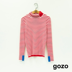 gozo 色塊拼接條紋高領針織衫(紅色)