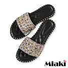 Miaki-拖鞋水鑽時尚平底涼拖-銀