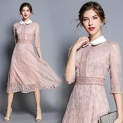 五分袖鏤空蕾絲娃娃領氣質洋裝連身裙S-XL-M2M