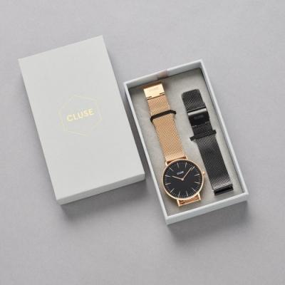 CLUSE La Bohème 限量禮盒(玫瑰金框/不鏽鋼錶帶+黑色不鏽鋼錶帶) 38mm