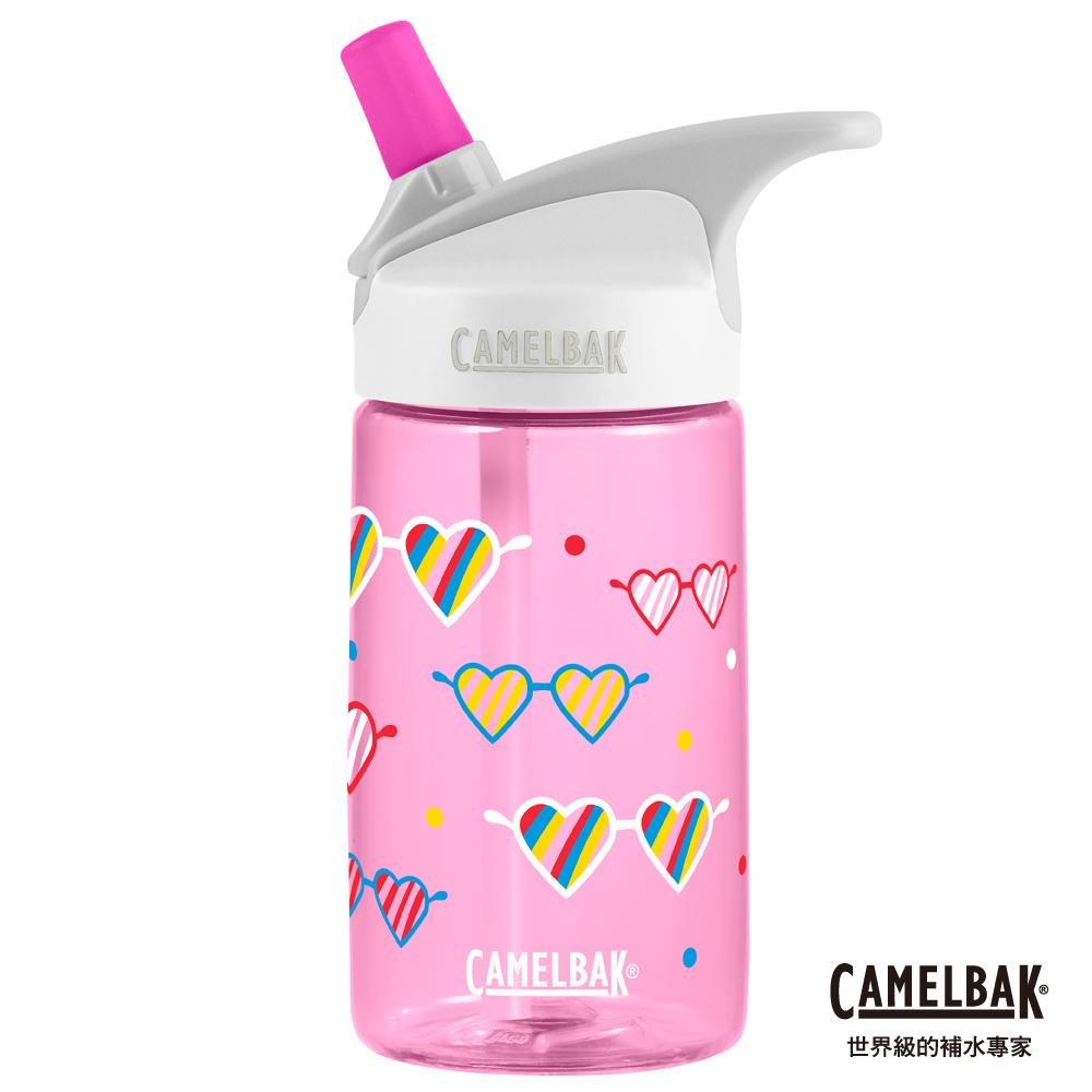 【美國 CamelBak】400ml eddy兒童吸管運動水瓶 愛心眼鏡