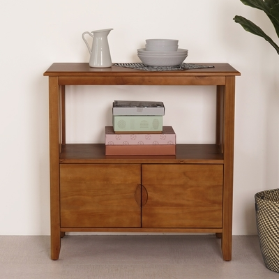 Homelike 瑪吉實木置物櫃-81x40x81cm