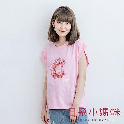 日系小媽咪孕婦裝-螢光系字母甜甜圈印圖棉質上衣 (共二色)