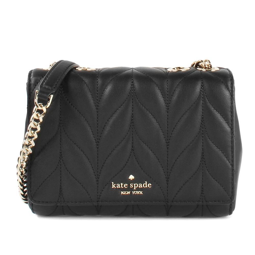 Kate Spade mini emelyn質感軟皮革優雅葉子縫線多功能晚宴包-黑色